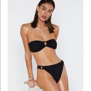 NWT Nasty Gal Crinkle Bandeau Bikini Resin Detail